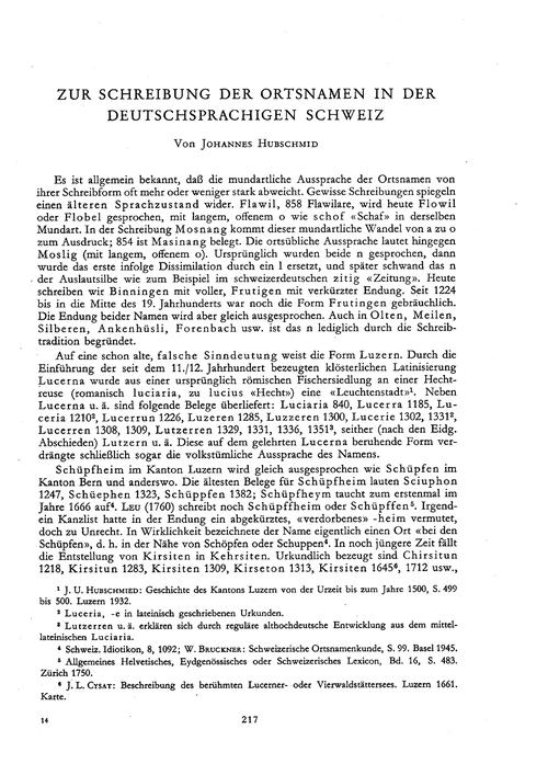 Zur Schreibung Der Ortsnamen in Der Deut... by Hubschmid, J.