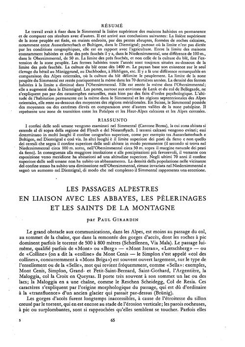 Les Passages Alpestres En Liaison Avec L... by Girardin, P.
