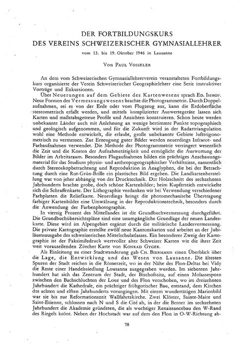 Der Fortbildungskurs Des Vereins Schweiz... by Vosseler, P.