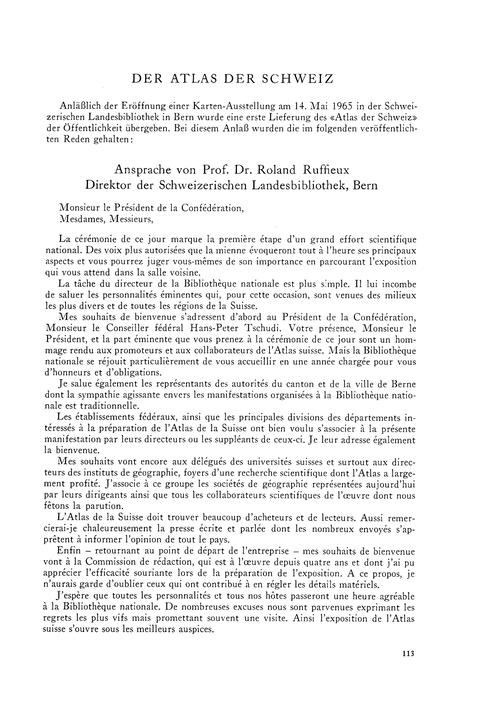 Der Atlas Der Schweiz : Ansprachen Anläs... by Ruffieux, R.