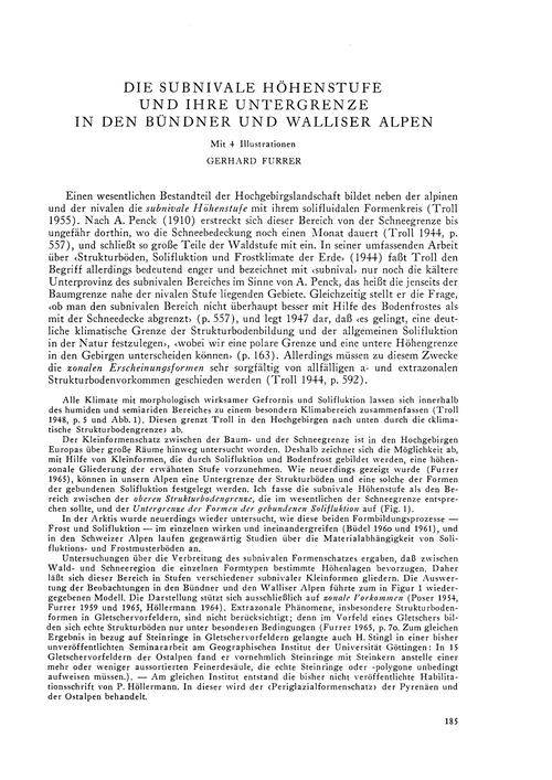 Die Subnivale Höhenstufe Und Ihre Unterg... by Furrer, G.