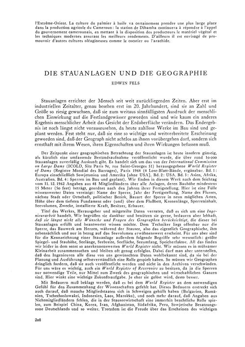 Die Stauanlagen Und Die Geographie : Vol... by Fels, E.
