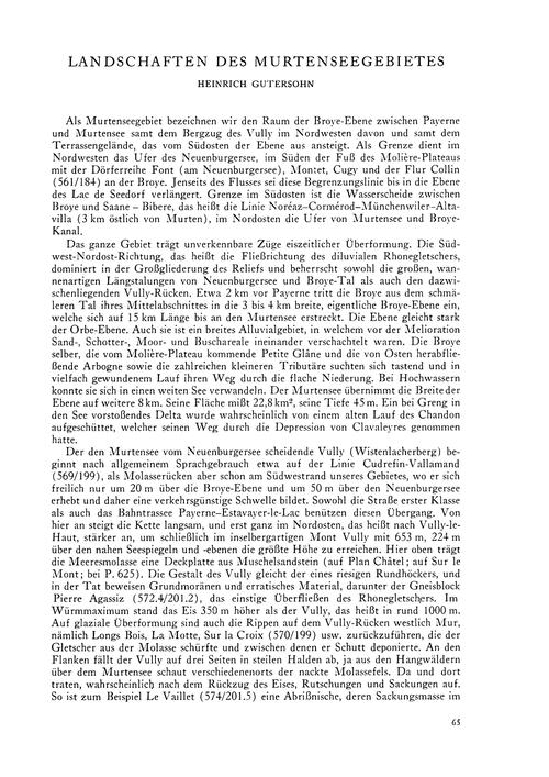Landschaften Des Murtenseegebietes : Vol... by Gutersohn, H.