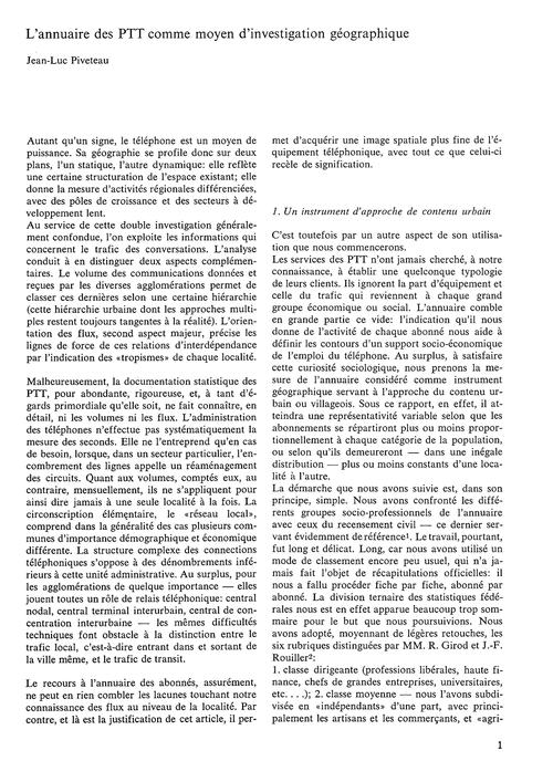L'Annuaire Des Ptt Comme Moyen D'Investi... by Piveteau, J.-l.