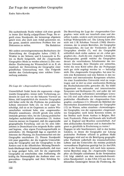 Zur Frage Der Angewandten Geographie : V... by Szàva-kovàts, E.