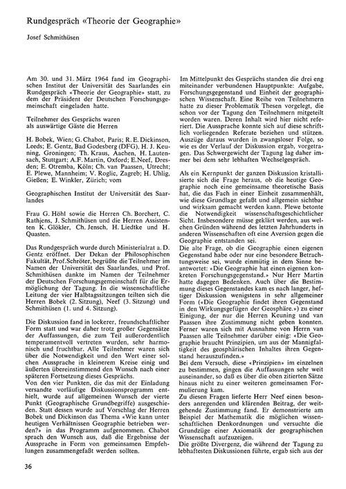 Rundgespräch Theorie Der Geographie : Vo... by Schmithüsen, J.