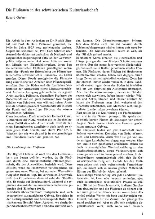 Die Flussauen in Der Schweizerischen Kul... by Gerber, E.
