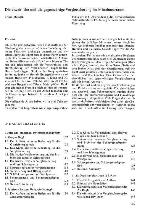 Die Eiszeitliche Und Die Gegenwärtige Ve... by Messerli, B.