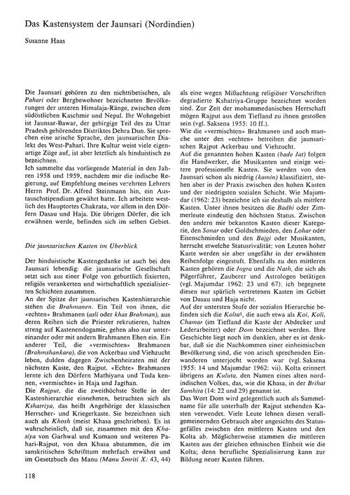 Das Kastensystem Der Jaunsari (Nordindie... by Haas, S.