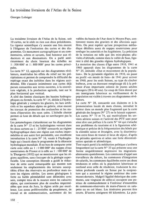 La Troisième Livraison De L'Atlas De La ... by Lobsiger, G.