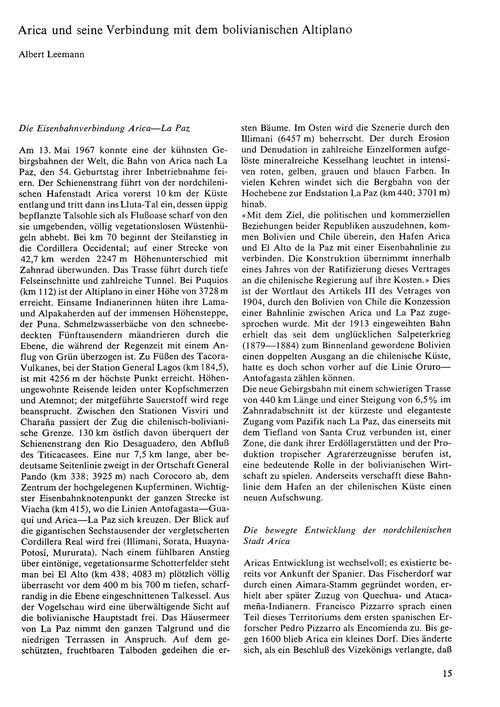 Arica Und Seine Verbindung Mit Dem Boliv... by Leemann, A.