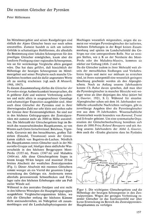 Die Rezenten Gletscher Der Pyrenäen : Vo... by Höllermann, P.