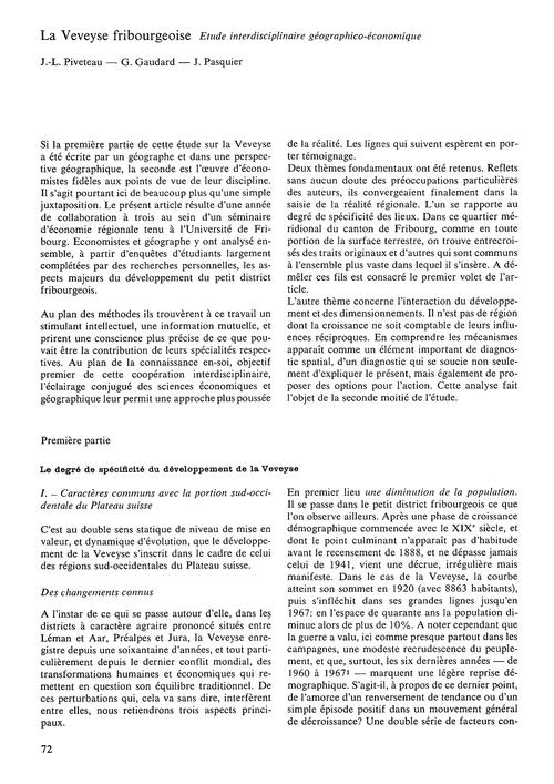 La Veveyse Fribourgeoise : Étude Interdi... by Piveteau, J.-l.