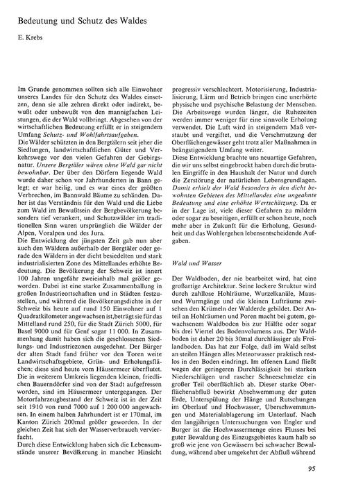 Bedeutung Und Schutz Des Waldes : Volume... by Krebs, E.