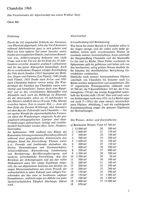 Chandolin 1968 : Das Verschwinden Der Al... by Bär, O.