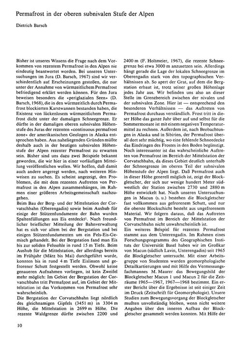 Permafrost in Der Oberen Subnivalen Stuf... by Barsch, D.