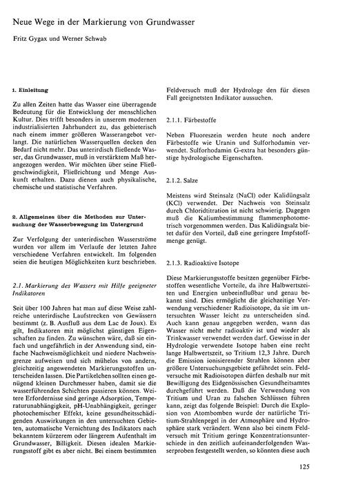 Neue Wege in Der Markierung Von Grundwas... by Gygax, F.