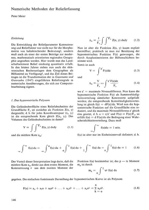 Numerische Methoden Der Relieferfassung ... by Meier, P.