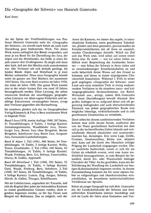 Die Geographie Der Schweiz Von Heinrich ... by Suter, K.