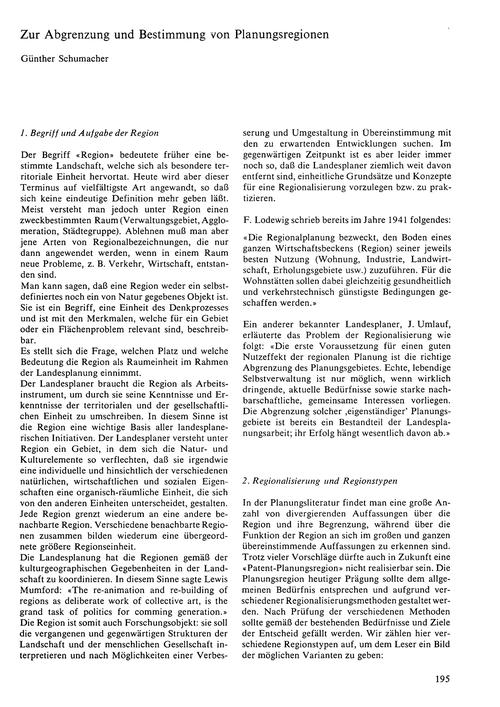 Zur Abgrenzung Und Bestimmung Von Planun... by Schumacher, G.