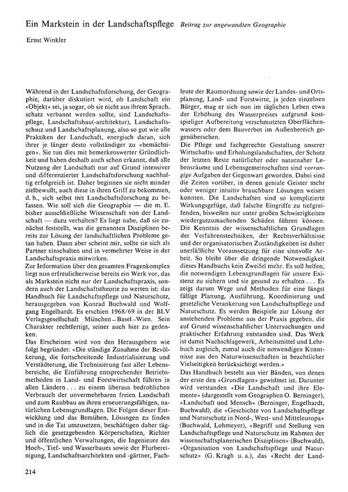 Ein Markstein in Der Landschaftspflege :... by Winkler, E.