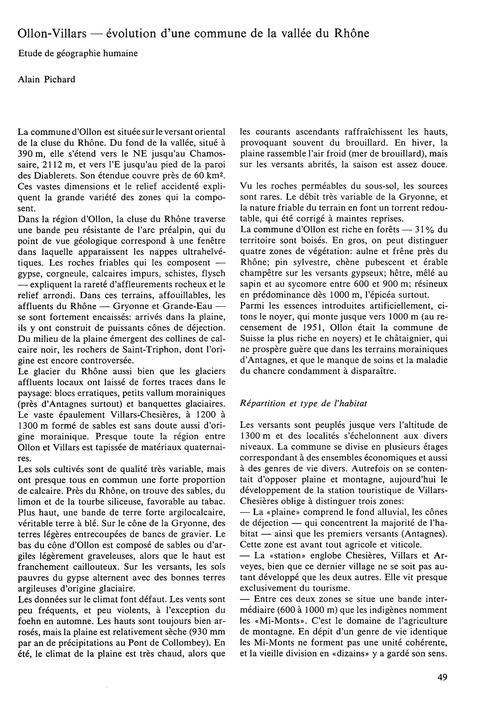 Ollon-villars : Évolution D'Une Commune ... by Pichard, A.