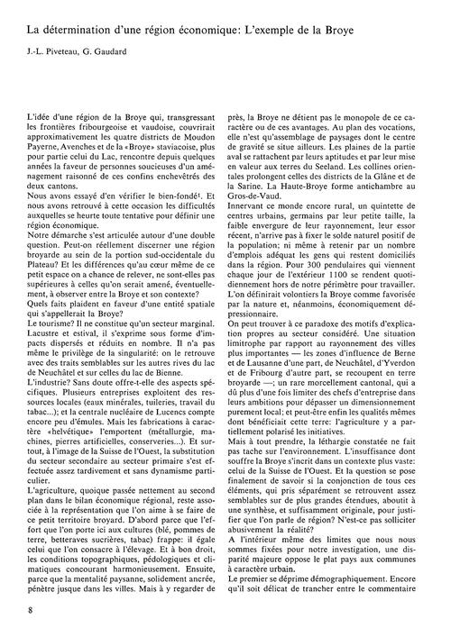 La Détermination D'Une Région Économique... by Piveteau, J.-l.
