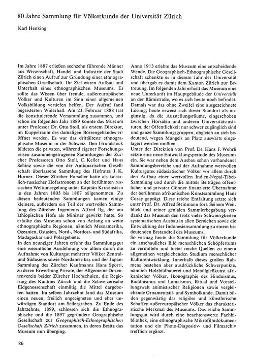 80 Jahre Sammlung Für Völkerkunde Der Un... by Henking, K.