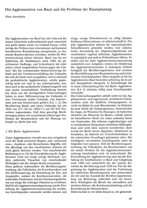 Die Agglomeration Von Basel Und Die Prob... by Annaheim, H.