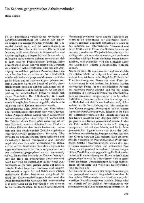 Ein Schema Geographischer Arbeitsmethode... by Boesch, H.