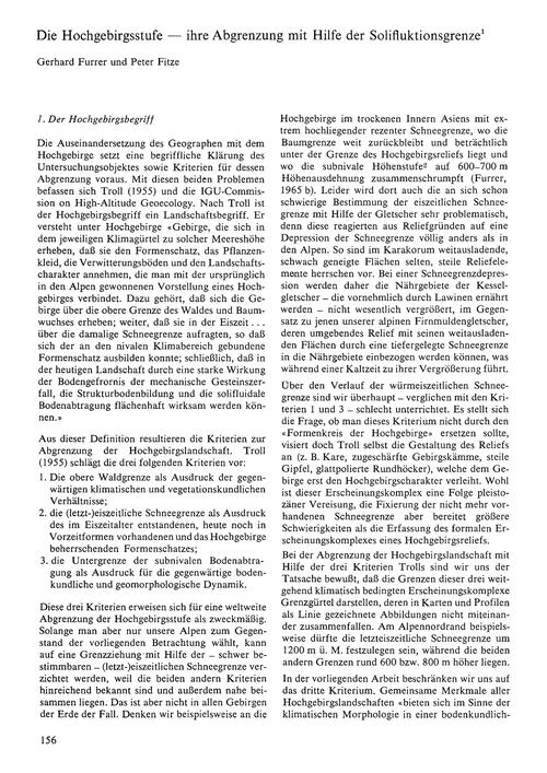 Die Hochgebirgsstufe : Ihre Abgrenzung M... by Furrer, G.
