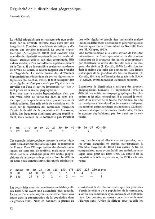 Régularité De La Distribution Géographiq... by Korcák, J.