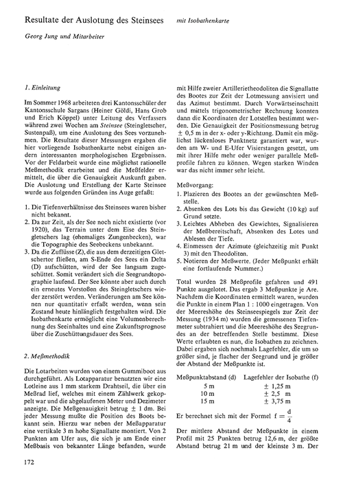 Resultate Der Auslotung Des Steinsees : ... by Jung, G.