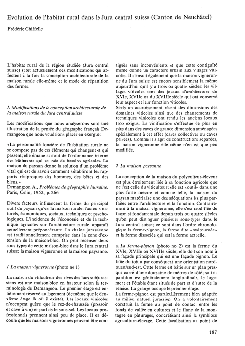 Evolution De L'Habitat Rural Dans Le Jur... by Chiffelle, F.