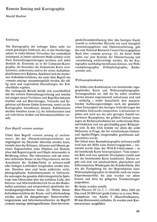 Remote Sensing Und Kartographie : Volume... by Haefner, H.