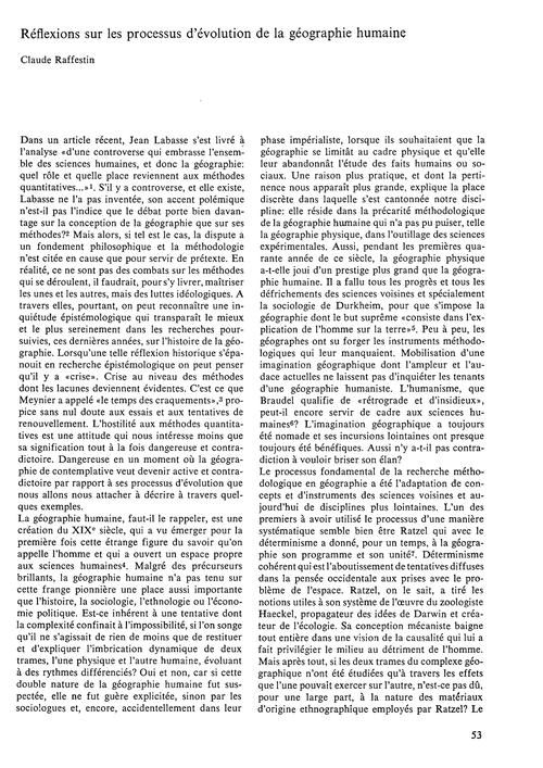 Réflextions Sur Les Processus D'Évolutio... by Raffestin, C.