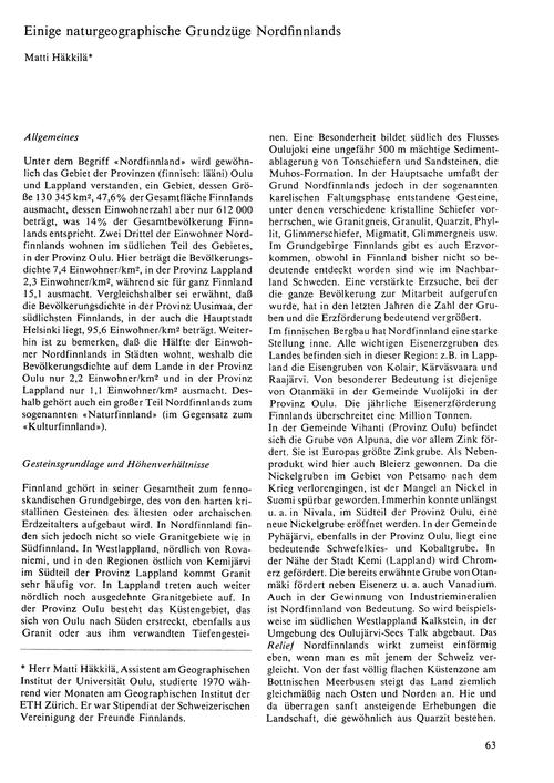 Einige Naturgeographische Grundzüge Nord... by Häkkilä, M.
