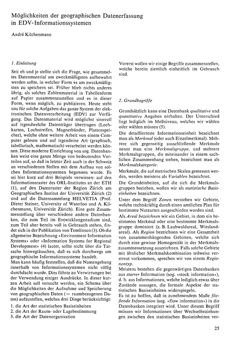 Möglichkeiten Der Geographischen Datener... by Kilchenmann, A.