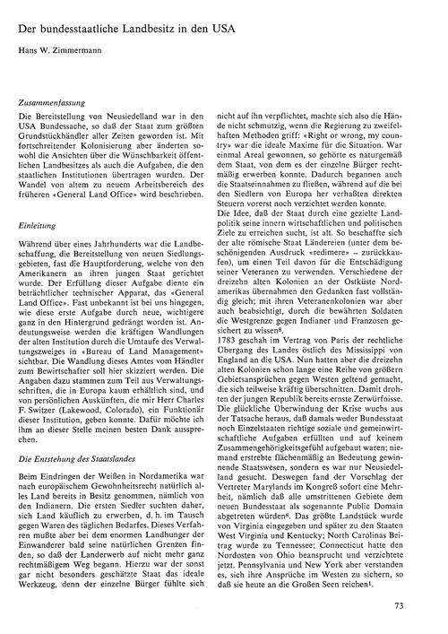 Der Bundesstaatliche Landbesitz in Den U... by Zimmermann, H. W.