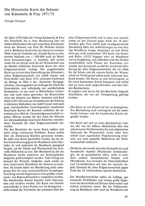 Die Historische Karte Der Schweiz Von Kü... by Grosjean, G.