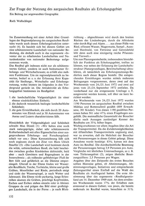 Zur Frage Der Nutzung Des Aargauischen R... by Wullschleger, R.
