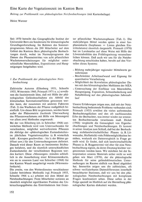 Eine Karte Der Vegetationszeit Im Kanton... by Wanner, H.