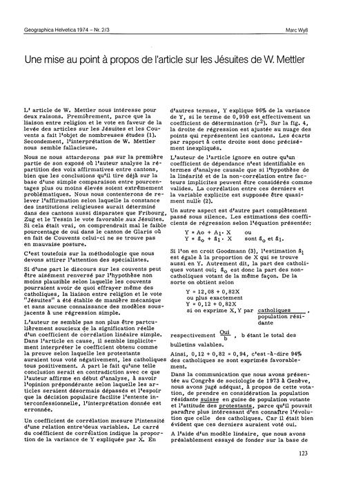 Une Mise Au Point À Propos De L'Article ... by Wyß, M.