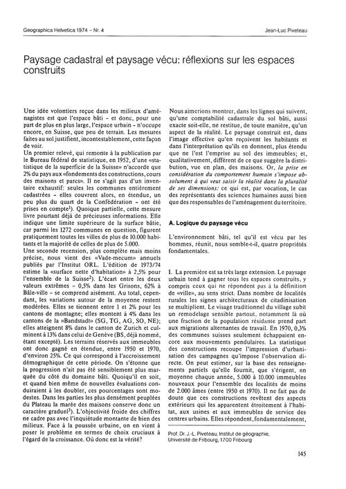 Paysage Cadastral Et Paysage Vécu : Réfl... by Piveteau, J.-l.