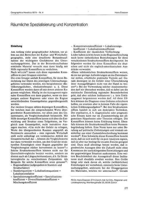 Räumliche Spezialisierung Und Konzentrat... by Elsasser, H.
