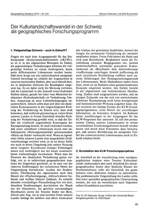 Der Kulturlandschaftswandel in Der Schwe... by Gallusser, W.