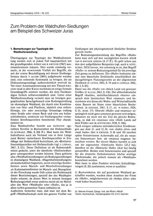 Zum Problem Der Waldhufen-siedlungen Am ... by Kreisel, W.