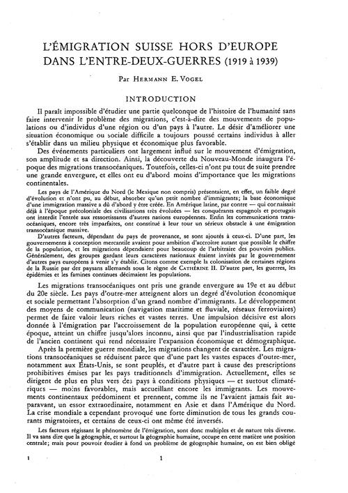 L'Émigration Suisse Hors D'Europe Dans L... by Vogel, H. E.