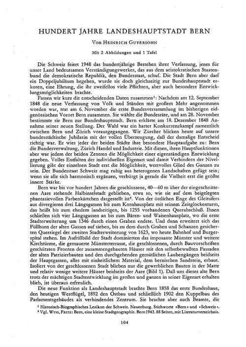 Hundert Jahre Landeshauptstadt Bern : Vo... by Gutersohn, H.
