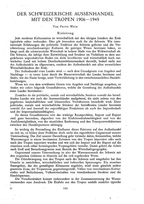 Der Schweizerische Aussenhandel Mit Den ... by Wick, F.